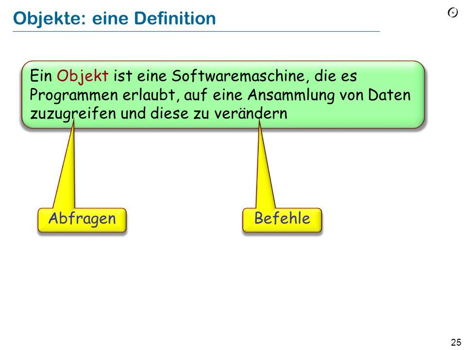 25 Objekte: eine Definition Ein Objekt ist eine Softwaremaschine, die es Programmen erlaubt, auf eine Ansammlung von Daten zuzugreifen und diese zu verändern AbfragenBefehle