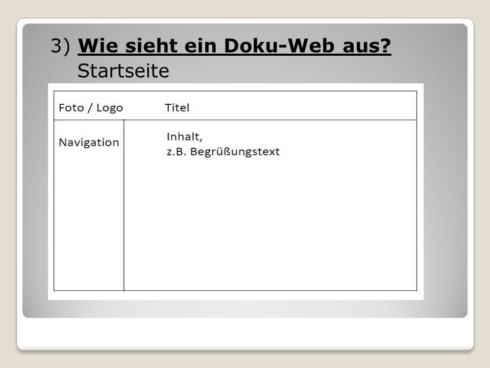 3) Wie sieht ein Doku-Web aus? Startseite