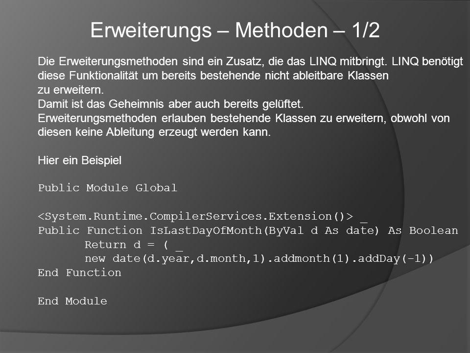 Die Erweiterungsmethoden sind ein Zusatz, die das LINQ mitbringt. LINQ benötigt diese Funktionalität um bereits bestehende nicht ableitbare Klassen zu