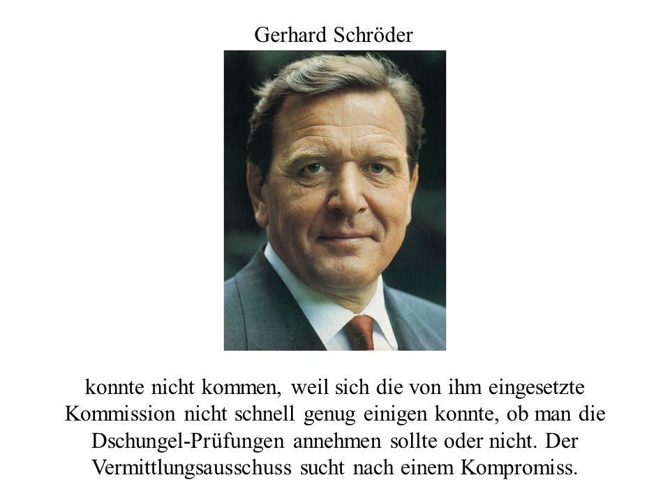 Gerhard Schröder konnte nicht kommen, weil sich die von ihm eingesetzte Kommission nicht schnell genug einigen konnte, ob man die Dschungel-Prüfungen annehmen sollte oder nicht.