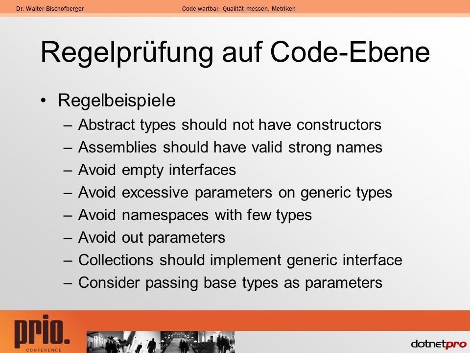 Dr. Walter BischofbergerCode wartbar: Qualität messen, Metriken Regelprüfung auf Code-Ebene Regelbeispiele –Abstract types should not have constructor