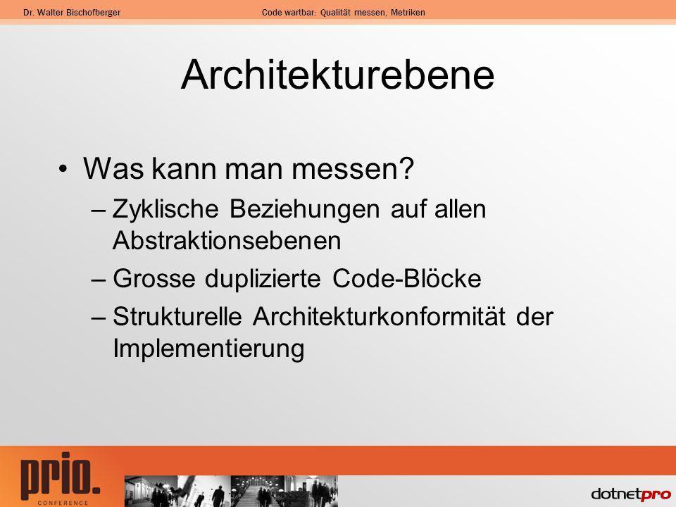 Dr. Walter BischofbergerCode wartbar: Qualität messen, Metriken Architekturebene Was kann man messen? –Zyklische Beziehungen auf allen Abstraktionsebe