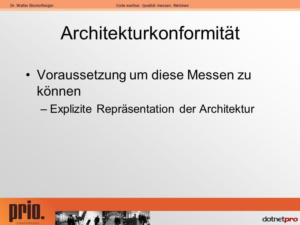Dr. Walter BischofbergerCode wartbar: Qualität messen, Metriken Architekturkonformität Voraussetzung um diese Messen zu können –Explizite Repräsentati