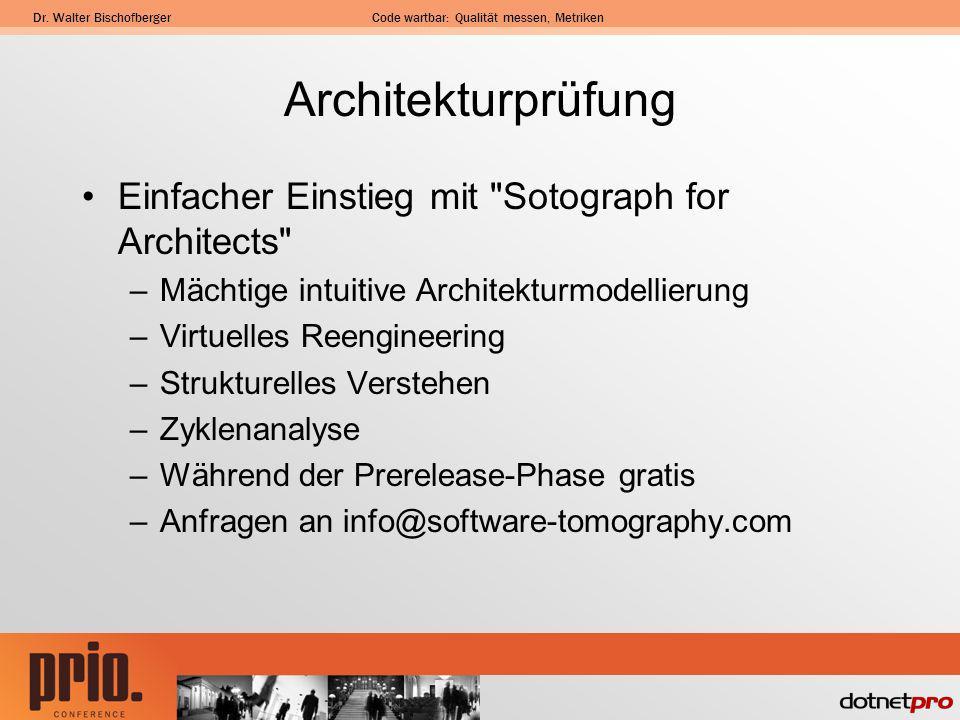 Dr. Walter BischofbergerCode wartbar: Qualität messen, Metriken Architekturprüfung Einfacher Einstieg mit