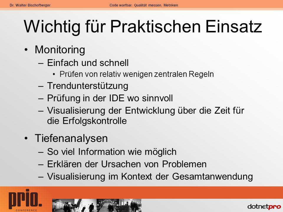 Dr. Walter BischofbergerCode wartbar: Qualität messen, Metriken Wichtig für Praktischen Einsatz Monitoring –Einfach und schnell Prüfen von relativ wen