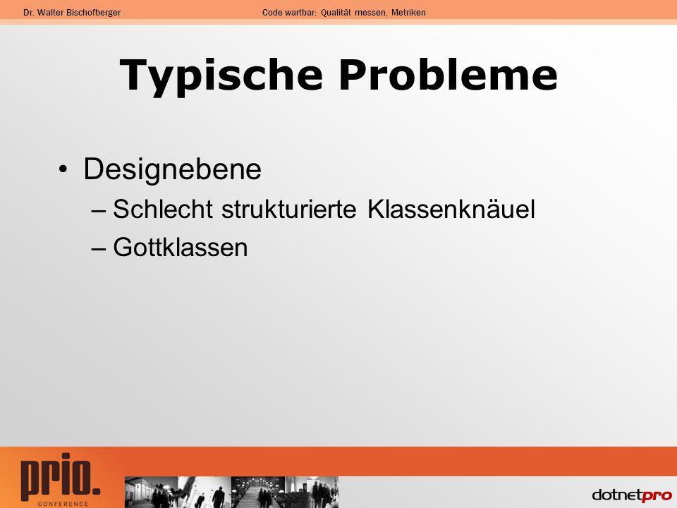 Dr. Walter BischofbergerCode wartbar: Qualität messen, Metriken Typische Probleme Designebene –Schlecht strukturierte Klassenknäuel –Gottklassen