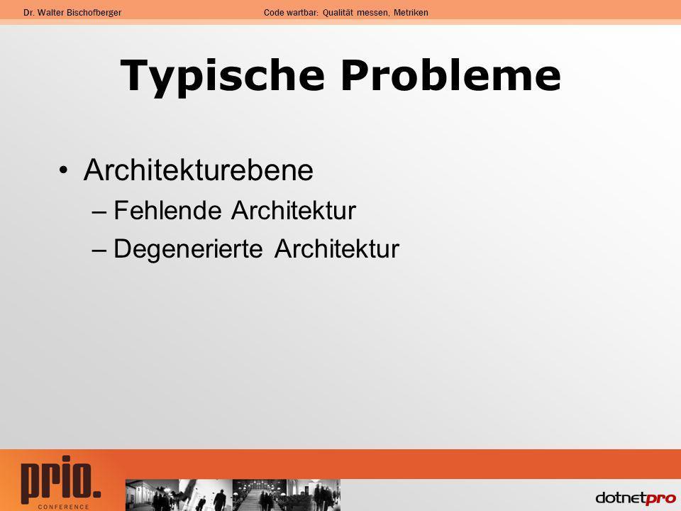 Dr. Walter BischofbergerCode wartbar: Qualität messen, Metriken Typische Probleme Architekturebene –Fehlende Architektur –Degenerierte Architektur