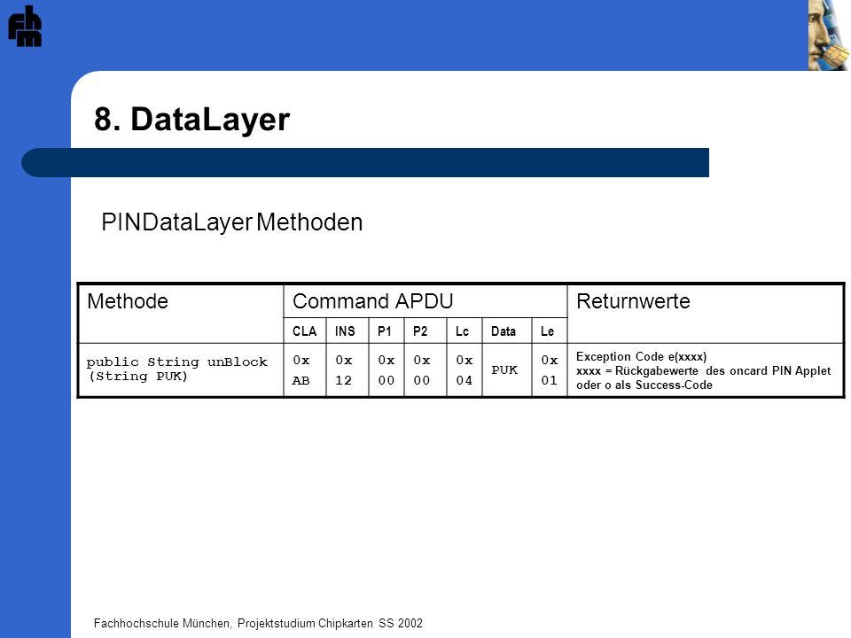 Fachhochschule München, Projektstudium Chipkarten SS 2002 8. DataLayer PINDataLayer Methoden MethodeCommand APDUReturnwerte CLAINSP1P2LcDataLe public