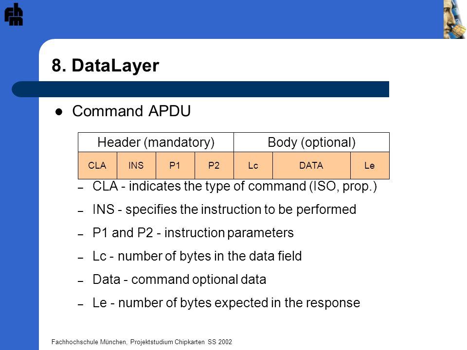 Fachhochschule München, Projektstudium Chipkarten SS 2002 8. DataLayer Header (mandatory) CLAINSP1P2 Body (optional) LcDATALe Command APDU – CLA - ind