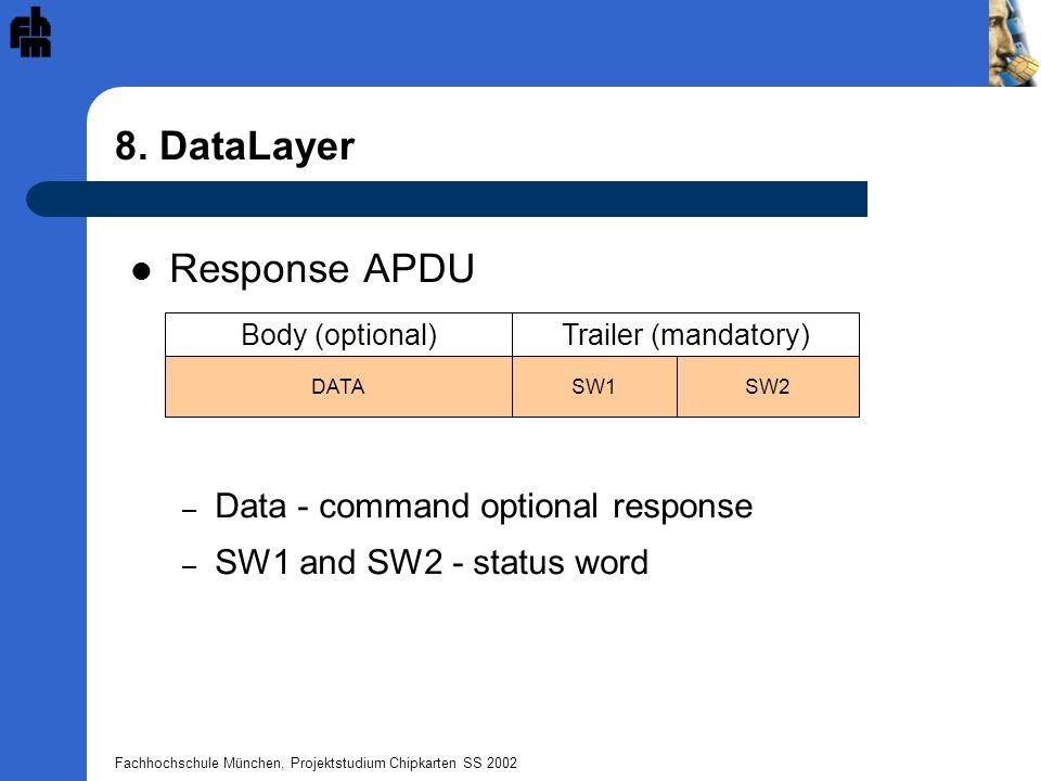 Fachhochschule München, Projektstudium Chipkarten SS 2002 8. DataLayer Trailer (mandatory)Body (optional) SW1DATASW2 Response APDU – Data - command op