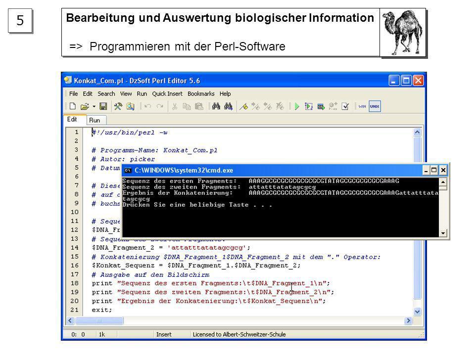 Bearbeitung und Auswertung biologischer Information => Anwendung spezieller Analyse-Software Bearbeitung und Auswertung biologischer Information => An