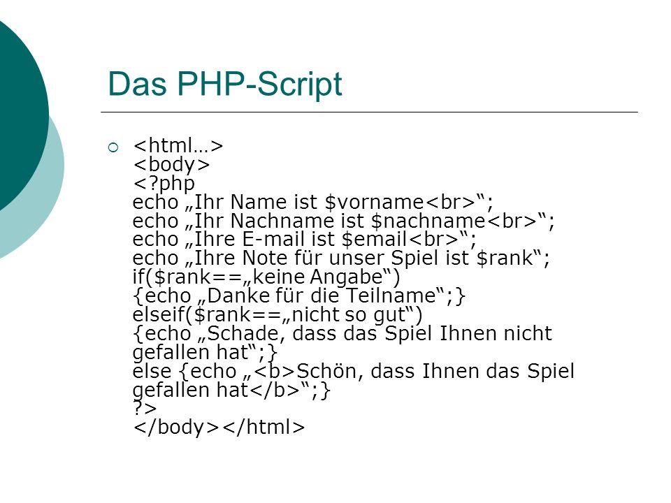 Das PHP-Script ; echo Ihr Nachname ist $nachname ; echo Ihre E-mail ist $email ; echo Ihre Note für unser Spiel ist $rank; if($rank==keine Angabe) {ec