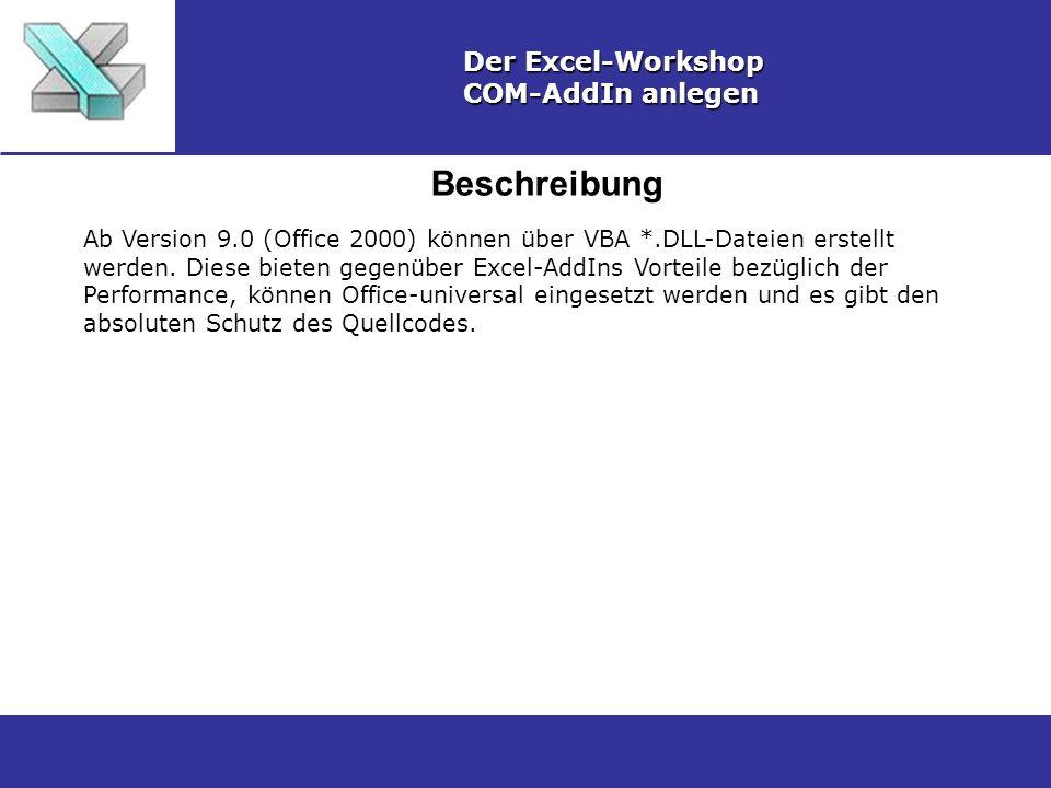 Beschreibung Der Excel-Workshop COM-AddIn anlegen Ab Version 9.0 (Office 2000) können über VBA *.DLL-Dateien erstellt werden. Diese bieten gegenüber E