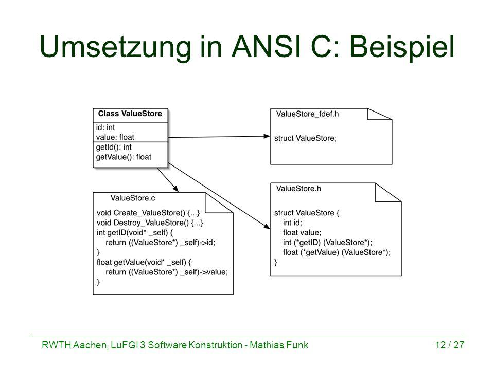 RWTH Aachen, LuFGI 3 Software Konstruktion - Mathias Funk12 / 27 Umsetzung in ANSI C: Beispiel