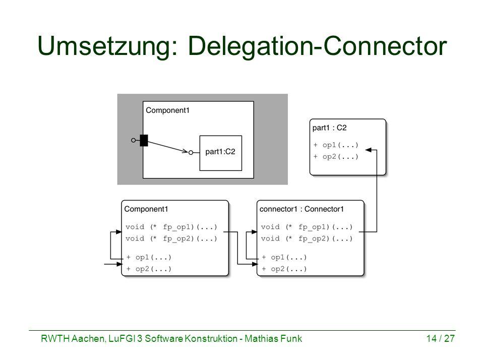 RWTH Aachen, LuFGI 3 Software Konstruktion - Mathias Funk14 / 27 Umsetzung: Delegation-Connector
