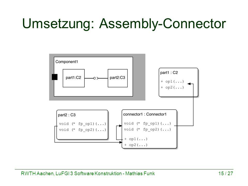 RWTH Aachen, LuFGI 3 Software Konstruktion - Mathias Funk15 / 27 Umsetzung: Assembly-Connector