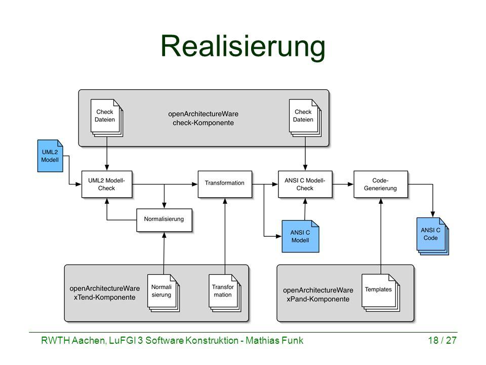 RWTH Aachen, LuFGI 3 Software Konstruktion - Mathias Funk18 / 27 Realisierung