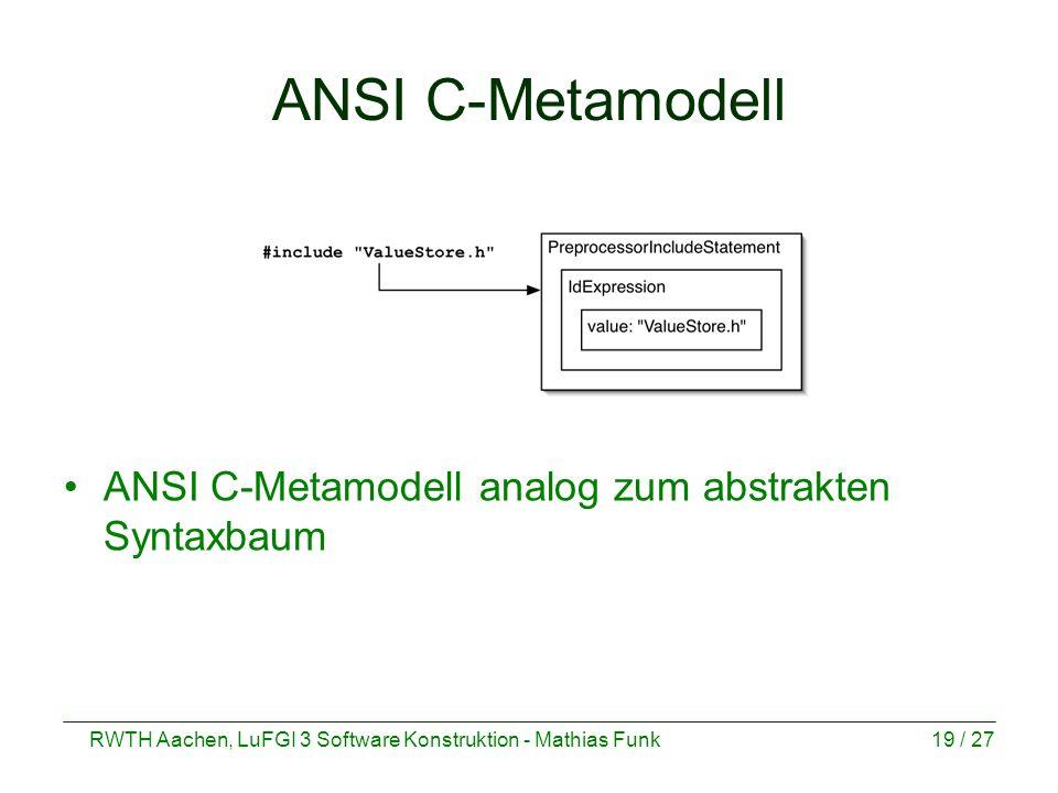 RWTH Aachen, LuFGI 3 Software Konstruktion - Mathias Funk19 / 27 ANSI C-Metamodell ANSI C-Metamodell analog zum abstrakten Syntaxbaum