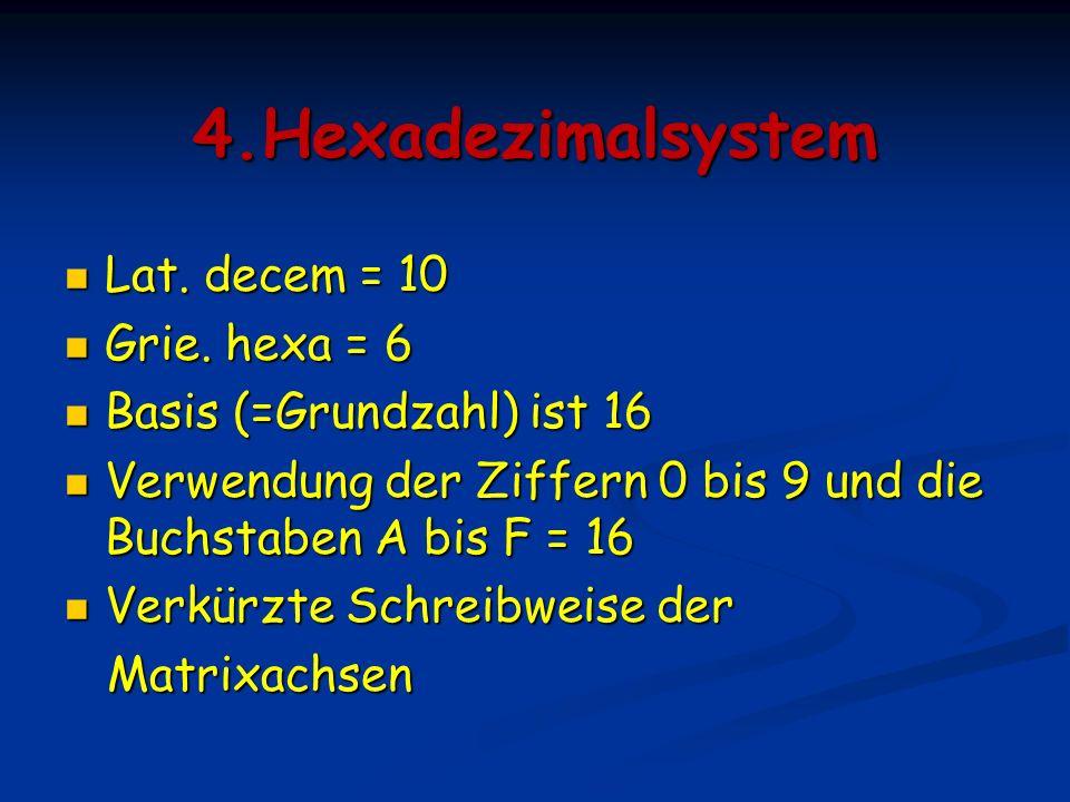 Die verschiedenen Zahlensysteme