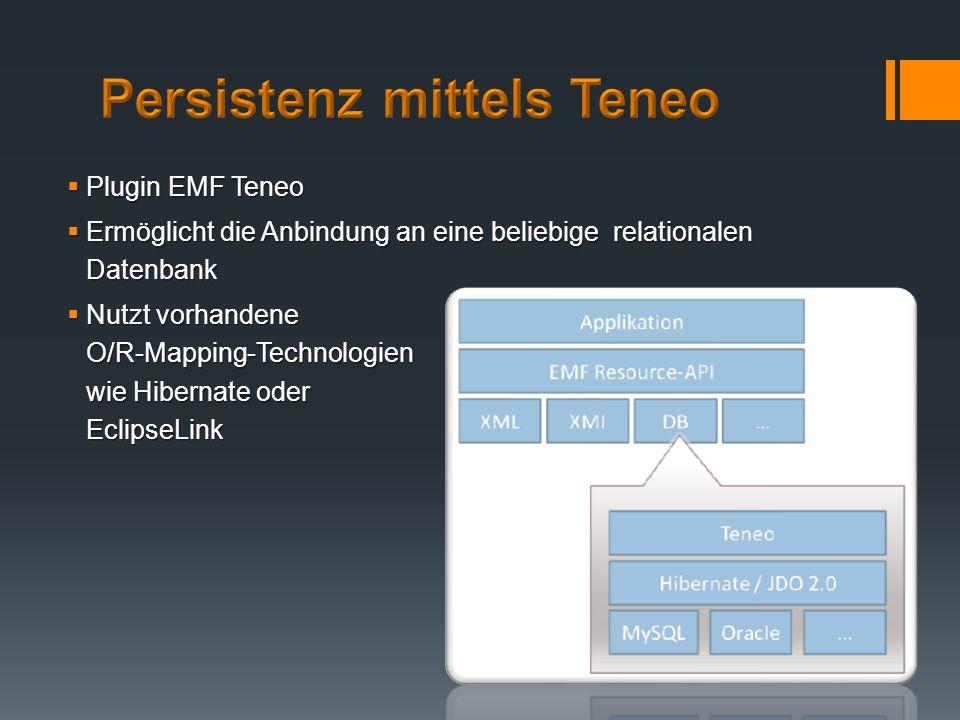 Plugin EMF Teneo Plugin EMF Teneo Ermöglicht die Anbindung an eine beliebige relationalen Datenbank Ermöglicht die Anbindung an eine beliebige relatio