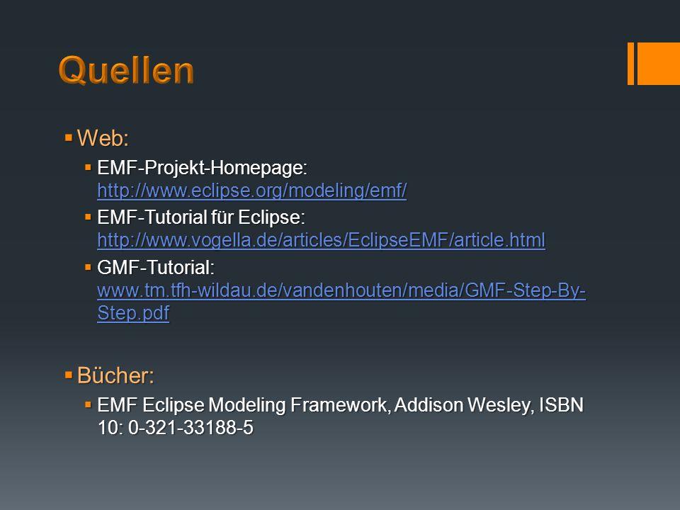 Web: Web: EMF-Projekt-Homepage: http://www.eclipse.org/modeling/emf/ EMF-Projekt-Homepage: http://www.eclipse.org/modeling/emf/ http://www.eclipse.org