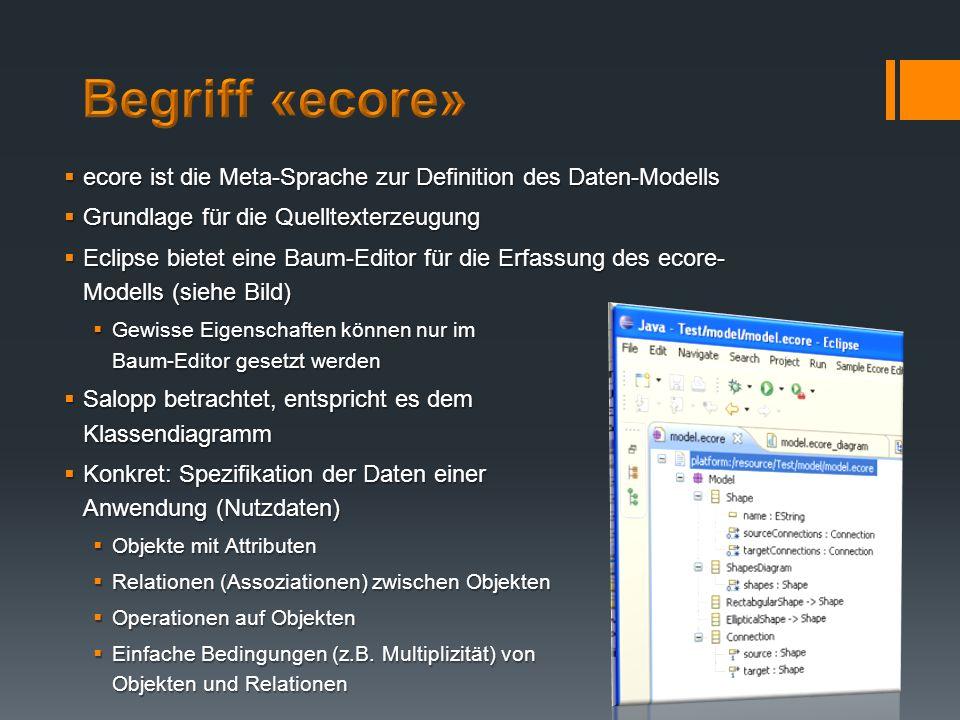 ecore ist die Meta-Sprache zur Definition des Daten-Modells ecore ist die Meta-Sprache zur Definition des Daten-Modells Grundlage für die Quelltexterz