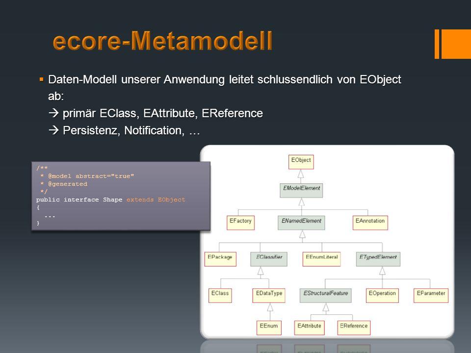 durch genmodel wird die Quelltexterzeugung ermöglicht durch genmodel wird die Quelltexterzeugung ermöglicht im Gegensatz zur ecore stellt es plattformspezifische (CPU/OS) Informationen zu Verfügung im Gegensatz zur ecore stellt es plattformspezifische (CPU/OS) Informationen zu Verfügung Mittels genmodels kann konfiguriert werden, wie der Quelltext generiert werden soll: Mittels genmodels kann konfiguriert werden, wie der Quelltext generiert werden soll: Angabe der weiter benötigten Package für die Code-Generierung Angabe der weiter benötigten Package für die Code-Generierung Spezifikation des Base Package Spezifikation des Base Package Vorgang wird meistens durch einen Wizard unterstützt Vorgang wird meistens durch einen Wizard unterstützt