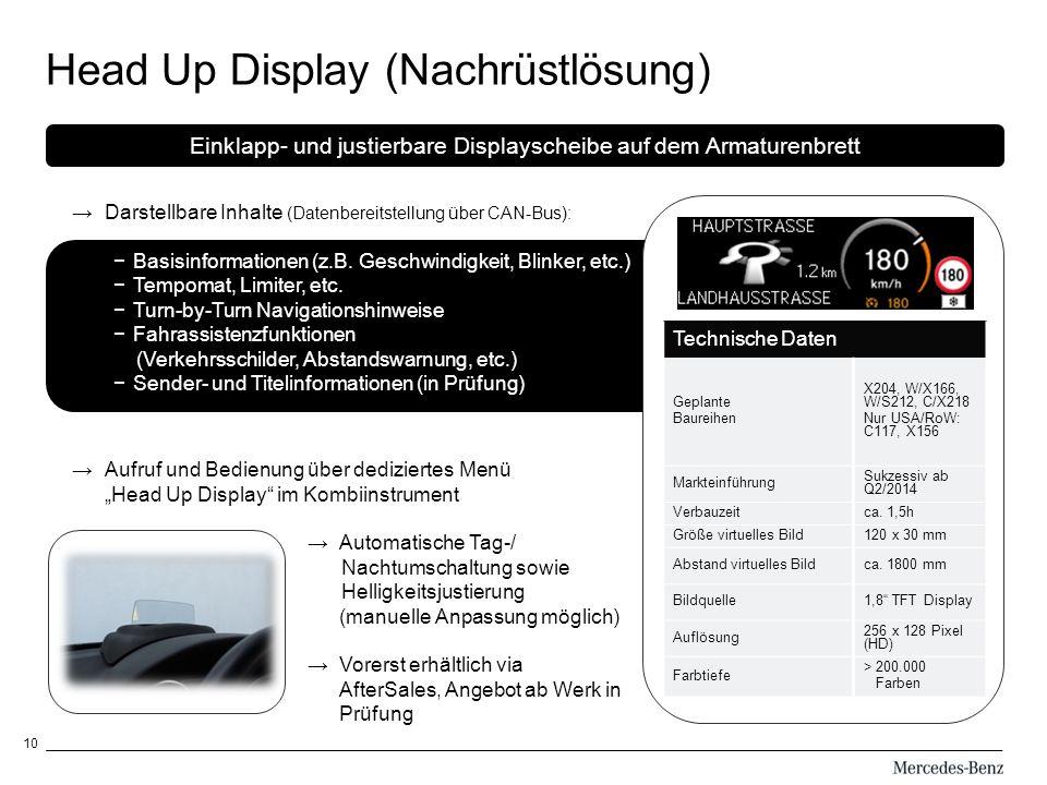 10 Head Up Display (Nachrüstlösung) Oo Cc Technische Daten Geplante Baureihen X204, W/X166, W/S212, C/X218 Nur USA/RoW: C117, X156 Markteinführung Sukzessiv ab Q2/2014 Verbauzeitca.