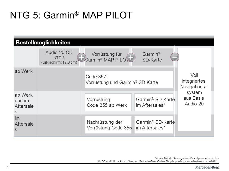 4 NTG 5: Garmin ® MAP PILOT Bestellmöglichkeiten ab Werk ab Werk und im Aftersale s im Aftersale s Audio 20 CD NTG 5 (Bildschirm: 17.8 cm) Vorrüstung