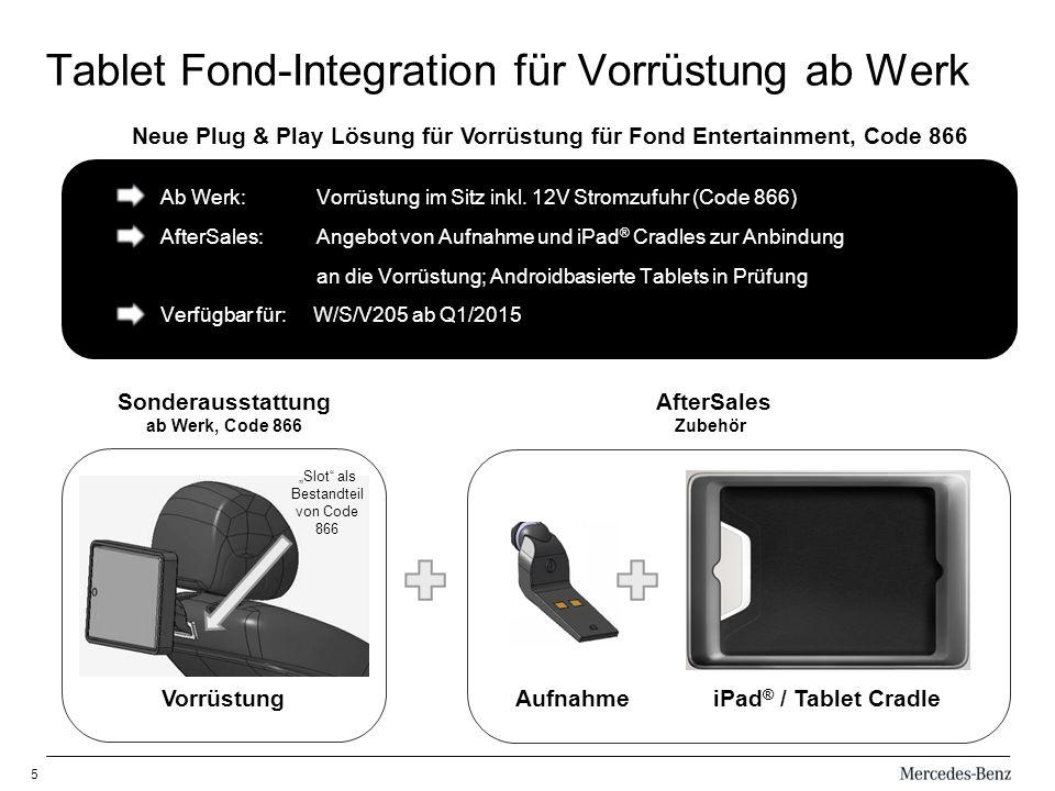 5 Tablet Fond-Integration für Vorrüstung ab Werk Slot als Bestandteil von Code 866 Ab Werk: Vorrüstung im Sitz inkl.