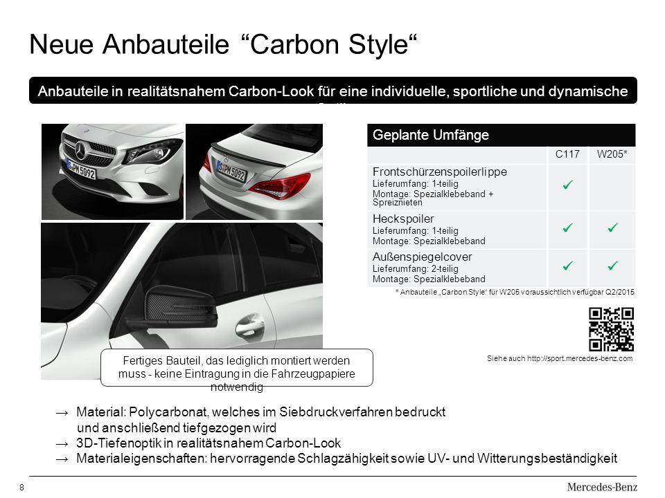 8 Neue Anbauteile Carbon Style * Anbauteile Carbon Style für W205 voraussichtlich verfügbar Q2/2015 Geplante Umfänge C117W205* Frontschürzenspoilerlip