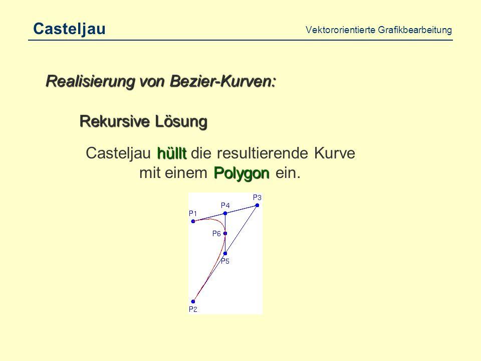 Vektororientierte Grafikbearbeitung Bezier Das Prinzip von Bezier: Prinzip der Polygone Verwende das Prinzip der Polygone mit Funktionen im Zusammenhang mit Funktionen, so dass die Kurve Gummiband-Charakter hat.