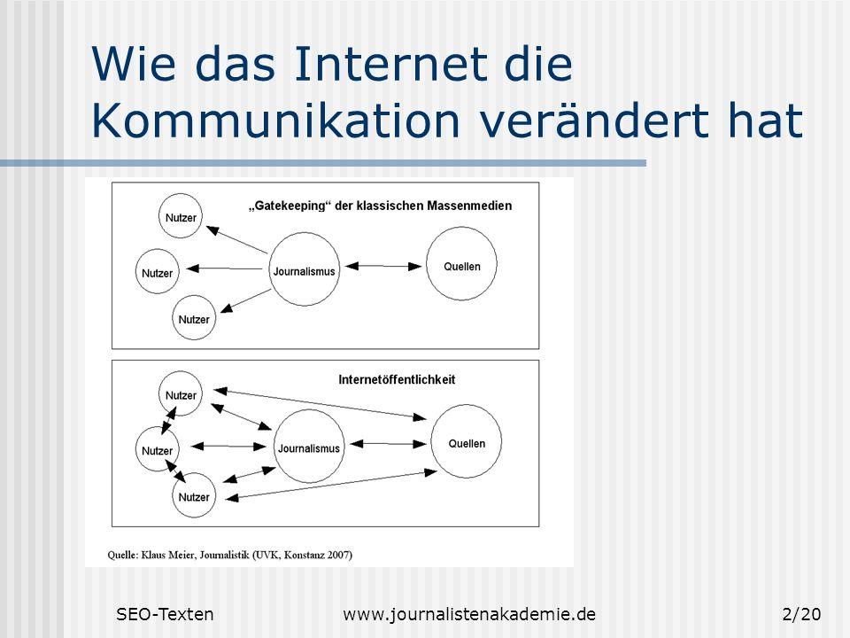 SEO-Textenwww.journalistenakademie.de2/20 Wie das Internet die Kommunikation verändert hat