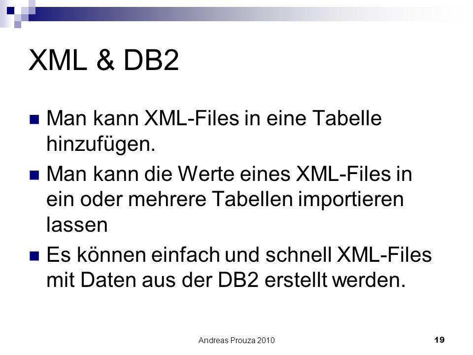 Andreas Prouza 201019 XML & DB2 Man kann XML-Files in eine Tabelle hinzufügen. Man kann die Werte eines XML-Files in ein oder mehrere Tabellen importi