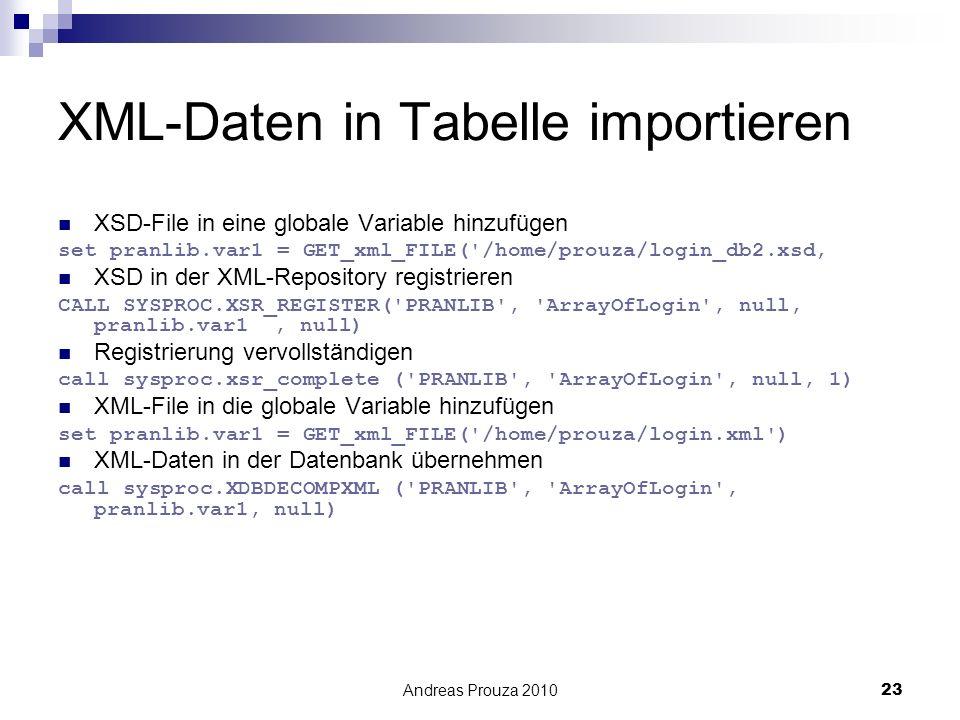 Andreas Prouza 201023 XML-Daten in Tabelle importieren XSD-File in eine globale Variable hinzufügen set pranlib.var1 = GET_xml_FILE('/home/prouza/logi