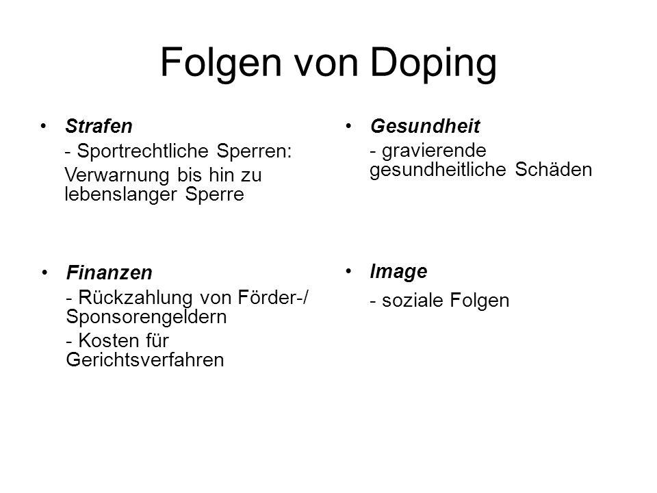 Folgen von Doping Strafen - Sportrechtliche Sperren: Verwarnung bis hin zu lebenslanger Sperre Finanzen - Rückzahlung von Förder-/ Sponsorengeldern -