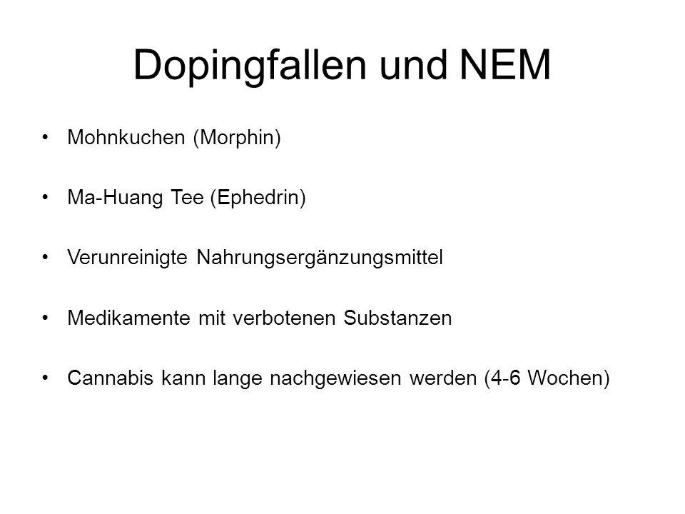 Dopingfallen und NEM Mohnkuchen (Morphin) Ma-Huang Tee (Ephedrin) Verunreinigte Nahrungsergänzungsmittel Medikamente mit verbotenen Substanzen Cannabi