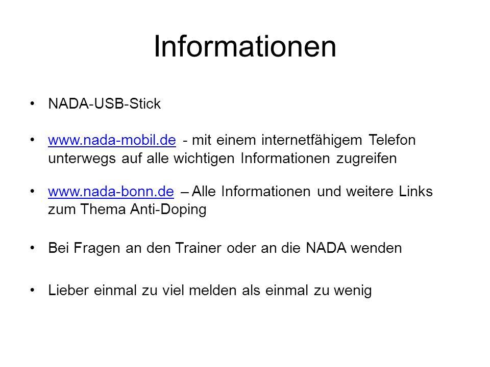 Informationen NADA-USB-Stick www.nada-mobil.de - mit einem internetfähigem Telefon unterwegs auf alle wichtigen Informationen zugreifenwww.nada-mobil.