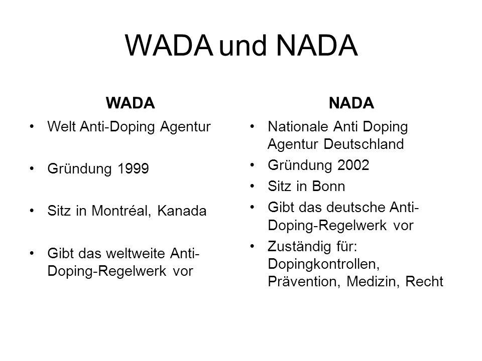 WADA und NADA WADA Welt Anti-Doping Agentur Gründung 1999 Sitz in Montréal, Kanada Gibt das weltweite Anti- Doping-Regelwerk vor NADA Nationale Anti D