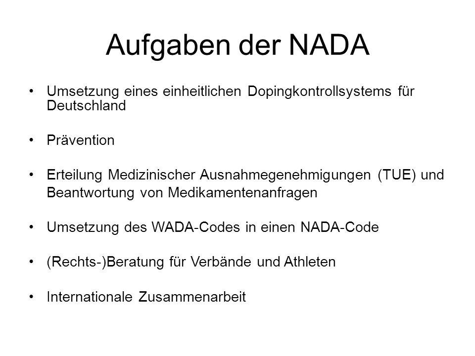 Aufgaben der NADA Umsetzung eines einheitlichen Dopingkontrollsystems für Deutschland Prävention Erteilung Medizinischer Ausnahmegenehmigungen (TUE) u