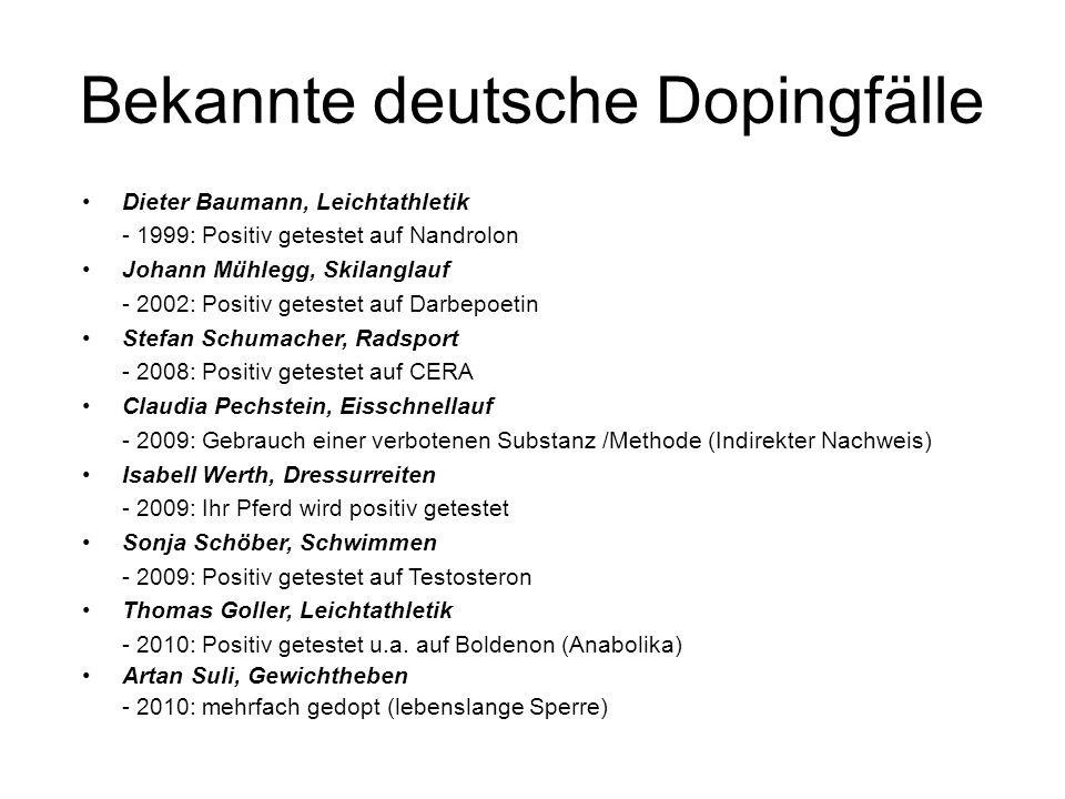 Bekannte deutsche Dopingfälle Dieter Baumann, Leichtathletik - 1999: Positiv getestet auf Nandrolon Johann Mühlegg, Skilanglauf - 2002: Positiv getest