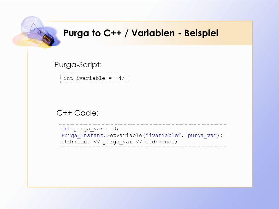 Purga to C++ / Variablen - Beispiel int purga_var = 0; Purga_Instanz.GetVariable(ivariable, purga_var); std::cout << purga_var << std::endl; int ivariable = -4; C++ Code: Purga-Script: