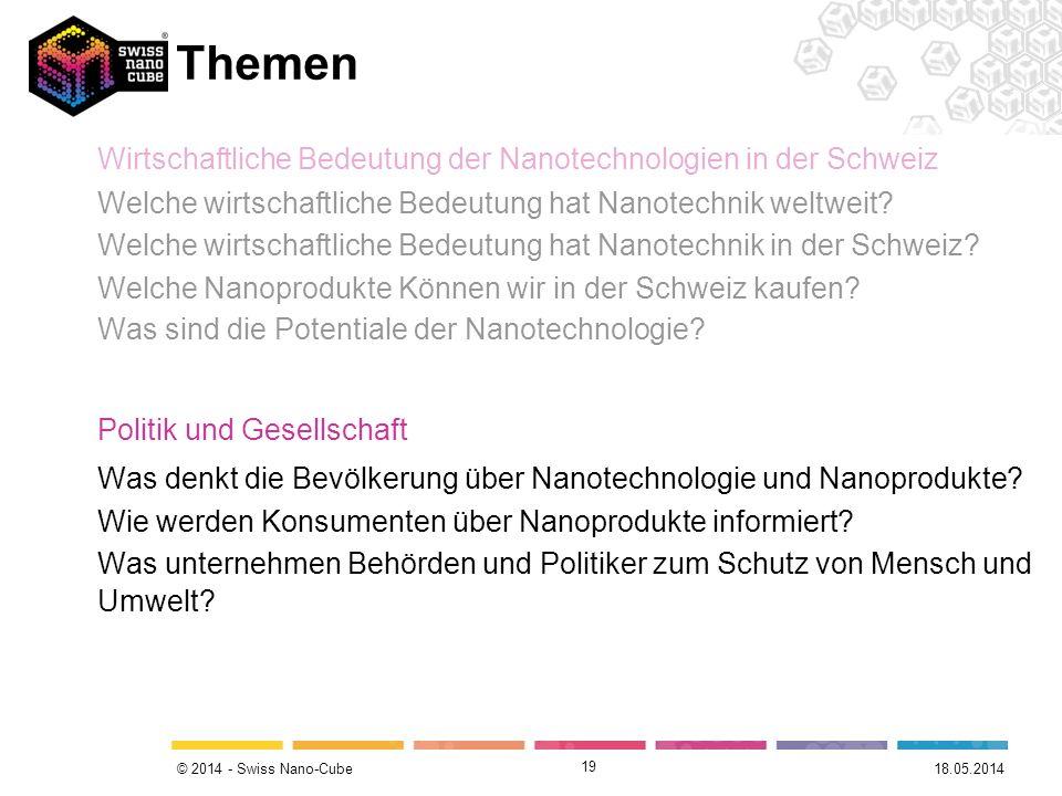 © 2014 - Swiss Nano-Cube 19 Themen Wirtschaftliche Bedeutung der Nanotechnologien in der Schweiz Welche wirtschaftliche Bedeutung hat Nanotechnik welt