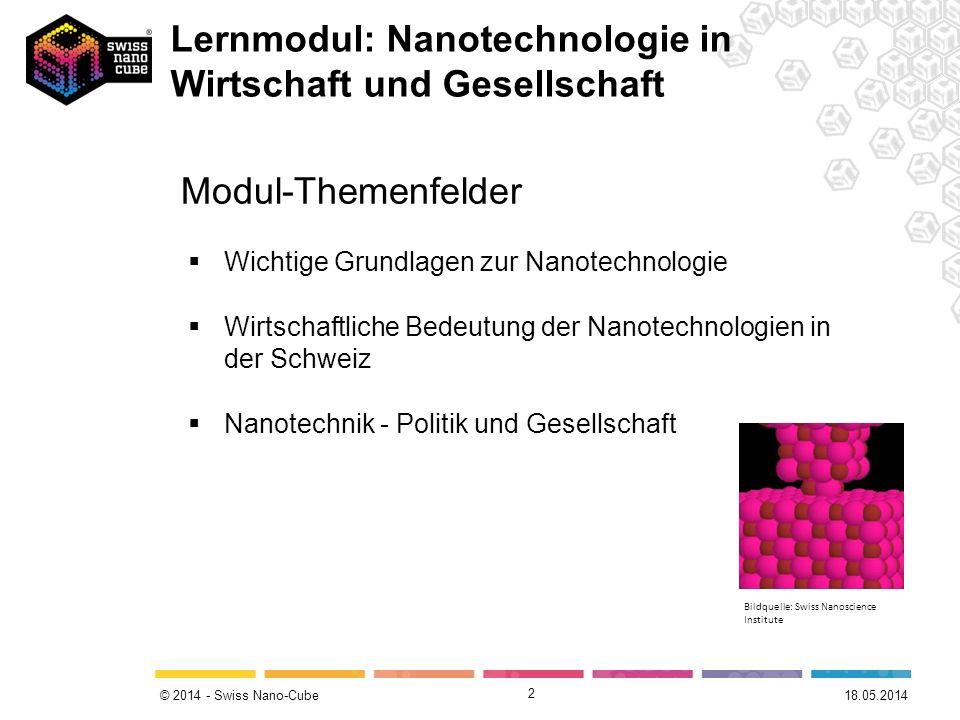 © 2014 - Swiss Nano-Cube 2 Modul-Themenfelder Wichtige Grundlagen zur Nanotechnologie Wirtschaftliche Bedeutung der Nanotechnologien in der Schweiz Na