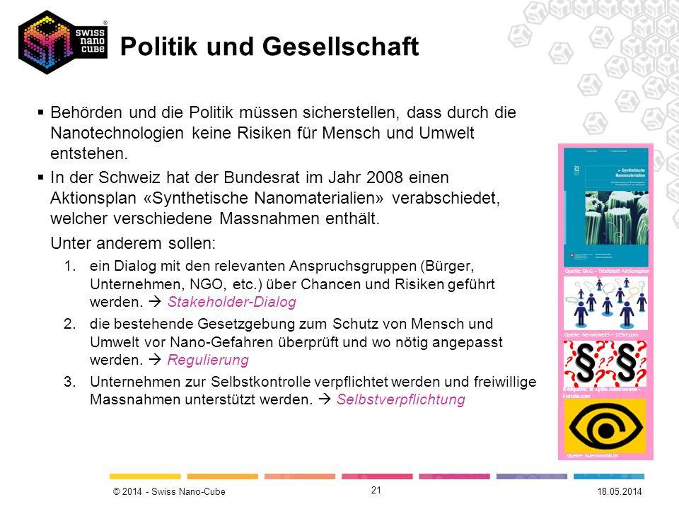 © 2014 - Swiss Nano-Cube 21 Behörden und die Politik müssen sicherstellen, dass durch die Nanotechnologien keine Risiken für Mensch und Umwelt entsteh