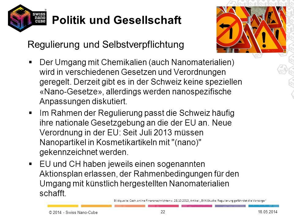 © 2014 - Swiss Nano-Cube 22 Regulierung und Selbstverpflichtung Der Umgang mit Chemikalien (auch Nanomaterialien) wird in verschiedenen Gesetzen und V