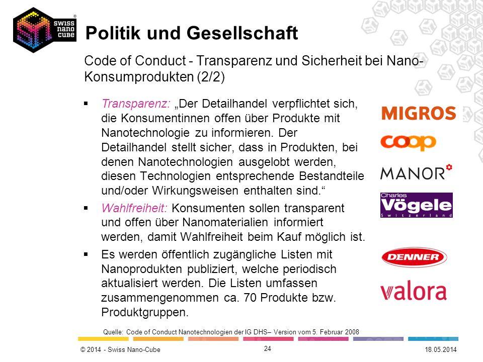 © 2014 - Swiss Nano-Cube 24 Code of Conduct - Transparenz und Sicherheit bei Nano- Konsumprodukten (2/2) Transparenz: Der Detailhandel verpflichtet si