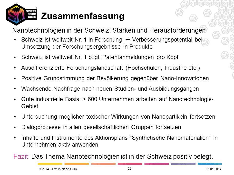 © 2014 - Swiss Nano-Cube 26 Nanotechnologien in der Schweiz: Stärken und Herausforderungen Schweiz ist weltweit Nr. 1 in Forschung Verbesserungspotent