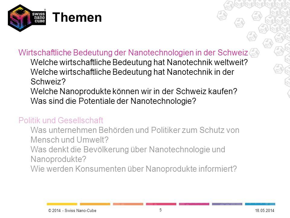 © 2014 - Swiss Nano-Cube 5 Themen Wirtschaftliche Bedeutung der Nanotechnologien in der Schweiz Welche wirtschaftliche Bedeutung hat Nanotechnik weltw