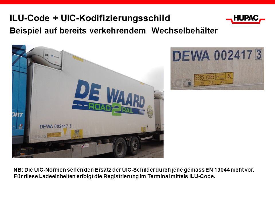 ILU-Code + UIC-Kodifizierungsschild Beispiel auf bereits verkehrendem Wechselbehälter NB: Die UIC-Normen sehen den Ersatz der UIC-Schilder durch jene
